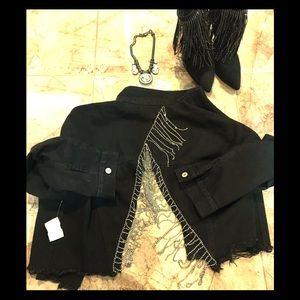 NWT Black Denim jacket,V-shape back w/ Rhinestones